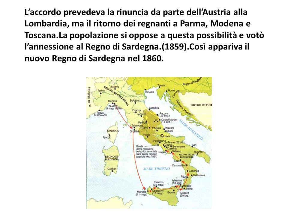 L'accordo prevedeva la rinuncia da parte dell'Austria alla Lombardia, ma il ritorno dei regnanti a Parma, Modena e Toscana.La popolazione si oppose a