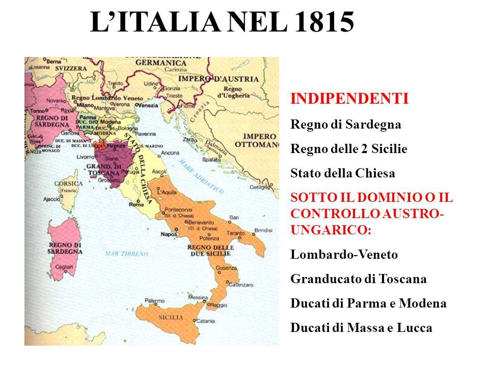L'ITALIA NEL 1815 INDIPENDENTI Regno di Sardegna Regno delle 2 Sicilie Stato della Chiesa SOTTO IL DOMINIO O IL CONTROLLO AUSTRO- UNGARICO: Lombardo-V