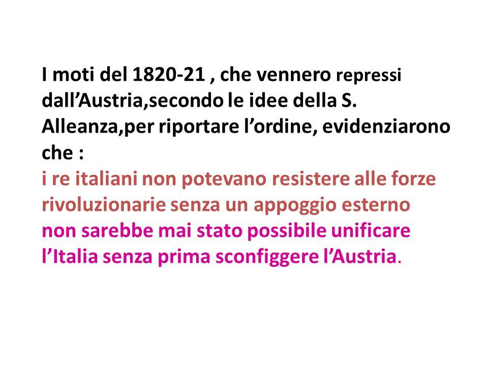 I moti del 1820-21, che vennero repressi dall'Austria,secondo le idee della S. Alleanza,per riportare l'ordine, evidenziarono che : i re italiani non