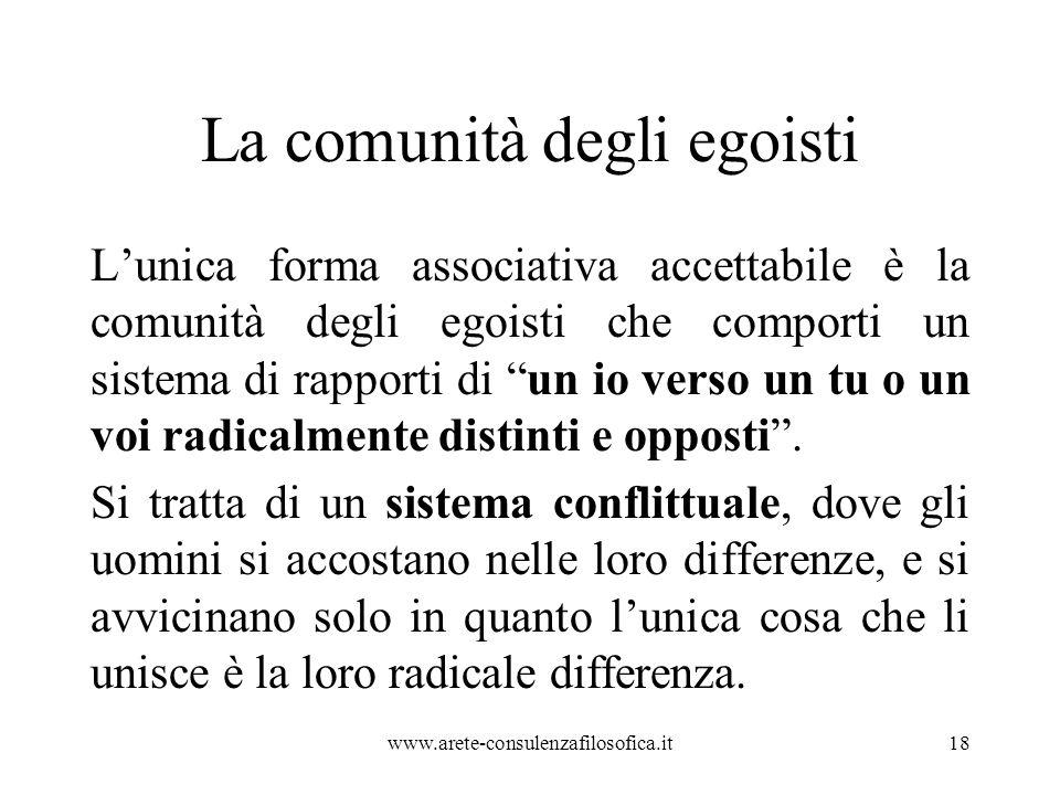 """La comunità degli egoisti L'unica forma associativa accettabile è la comunità degli egoisti che comporti un sistema di rapporti di """"un io verso un tu"""