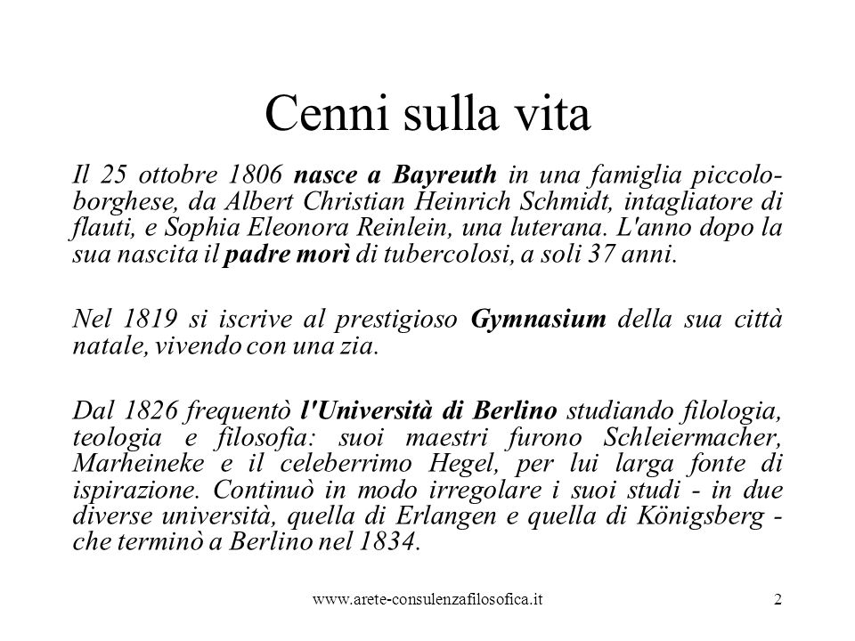 Cenni sulla vita Nell aprile dell anno successivo, Stirner sostenne gli esami orali di filosofia, materia che intendeva insegnare.
