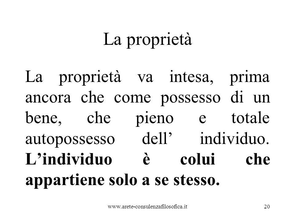 La proprietà La proprietà va intesa, prima ancora che come possesso di un bene, che pieno e totale autopossesso dell' individuo. L'individuo è colui c
