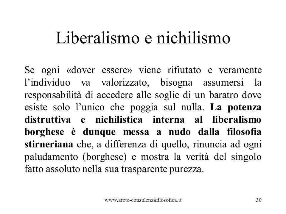 Liberalismo e nichilismo Se ogni «dover essere» viene rifiutato e veramente l'individuo va valorizzato, bisogna assumersi la responsabilità di acceder