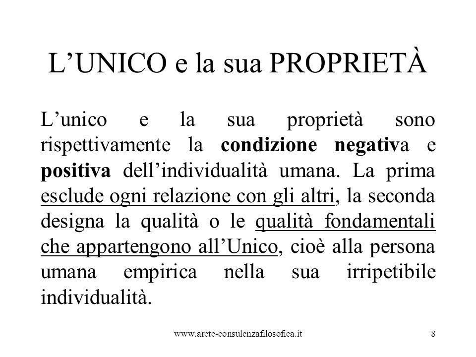 L'UNICO e la sua PROPRIETÀ L'unico e la sua proprietà sono rispettivamente la condizione negativa e positiva dell'individualità umana. La prima esclud