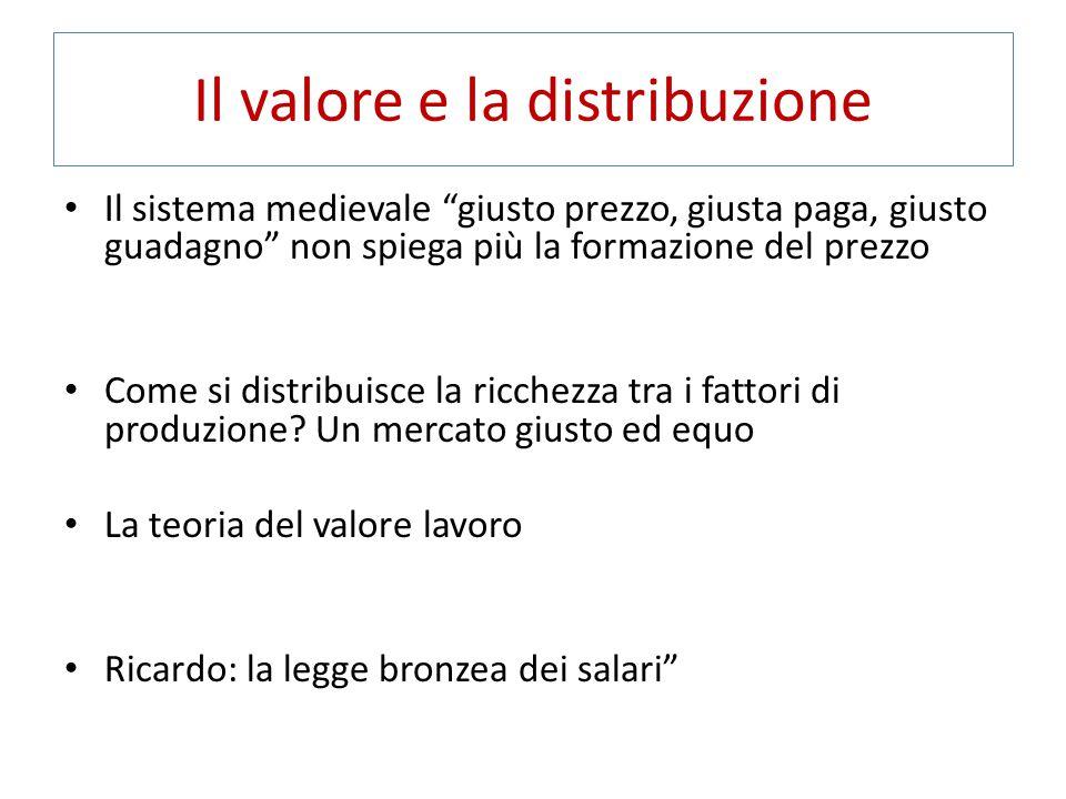 """Il valore e la distribuzione Il sistema medievale """"giusto prezzo, giusta paga, giusto guadagno"""" non spiega più la formazione del prezzo Come si distri"""