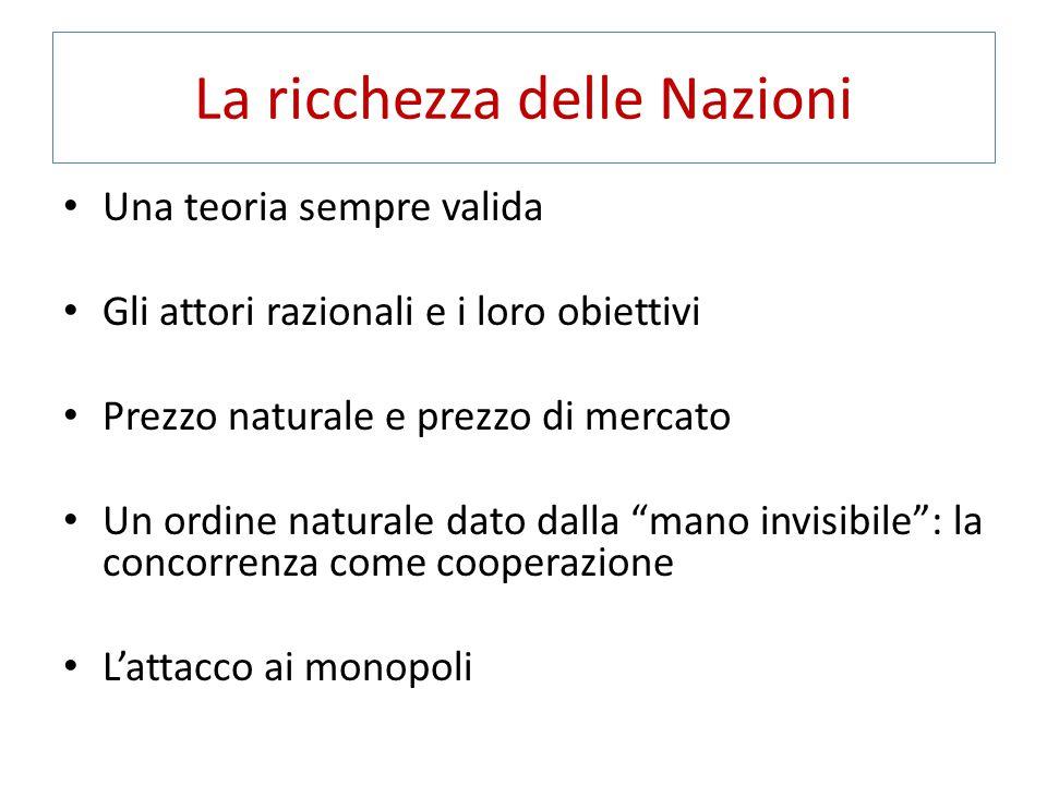 La ricchezza delle Nazioni Una teoria sempre valida Gli attori razionali e i loro obiettivi Prezzo naturale e prezzo di mercato Un ordine naturale dat