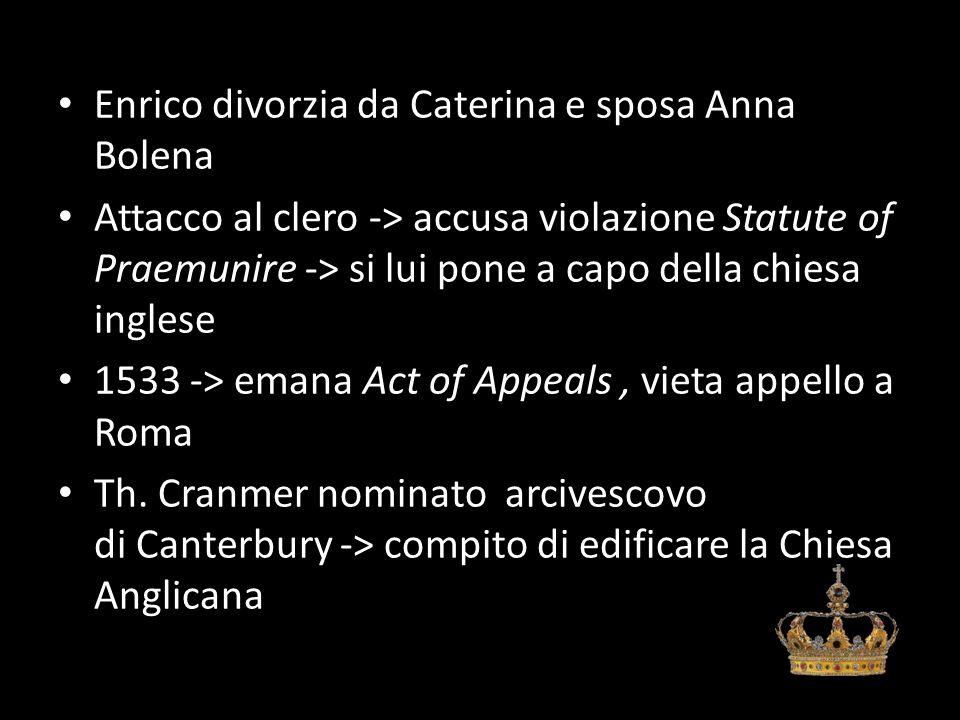 Enrico divorzia da Caterina e sposa Anna Bolena Attacco al clero -> accusa violazione Statute of Praemunire -> si lui pone a capo della chiesa inglese 1533 -> emana Act of Appeals, vieta appello a Roma Th.