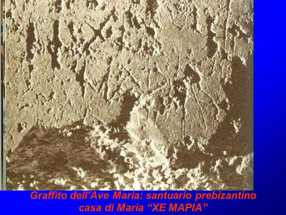 Graffito dell'Ave Maria: santuario prebizantino casa di Maria XE MAPIA