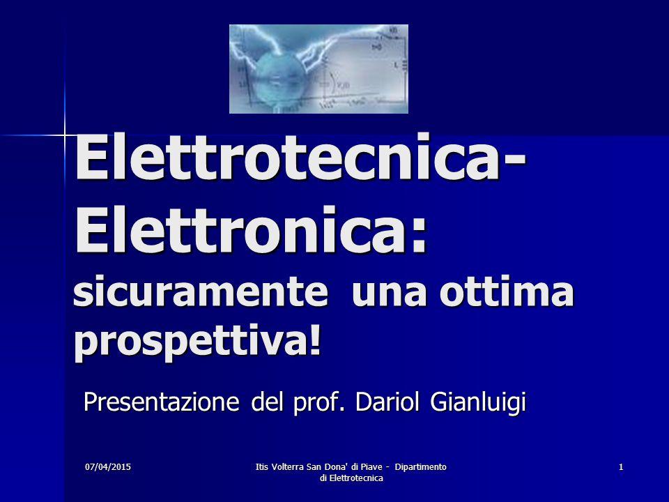 07/04/2015Itis Volterra San Dona di Piave - Dipartimento di Elettrotecnica 1 Elettrotecnica- Elettronica: sicuramente una ottima prospettiva.