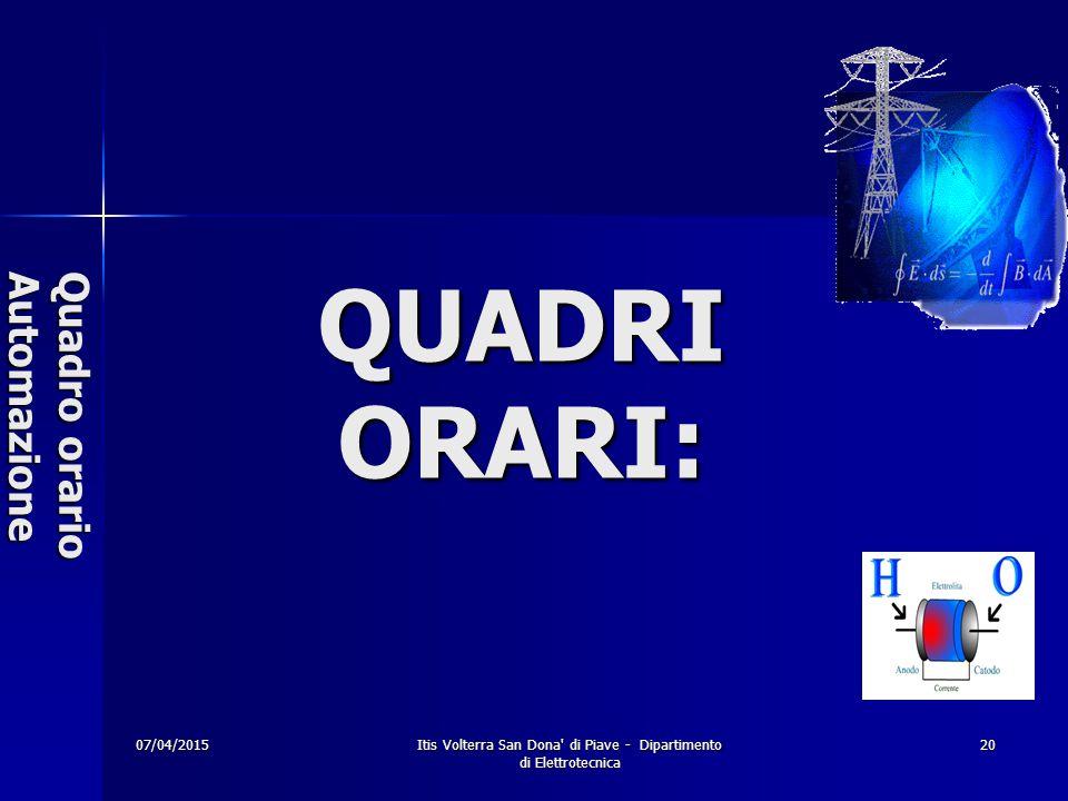 07/04/2015Itis Volterra San Dona di Piave - Dipartimento di Elettrotecnica 20 Quadro orario Automazione QUADRI ORARI: