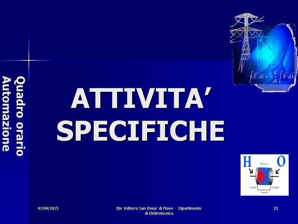 07/04/2015 Itis Volterra San Dona di Piave - Dipartimento di Elettrotecnica 23 Quadro orario Automazione ATTIVITA' SPECIFICHE
