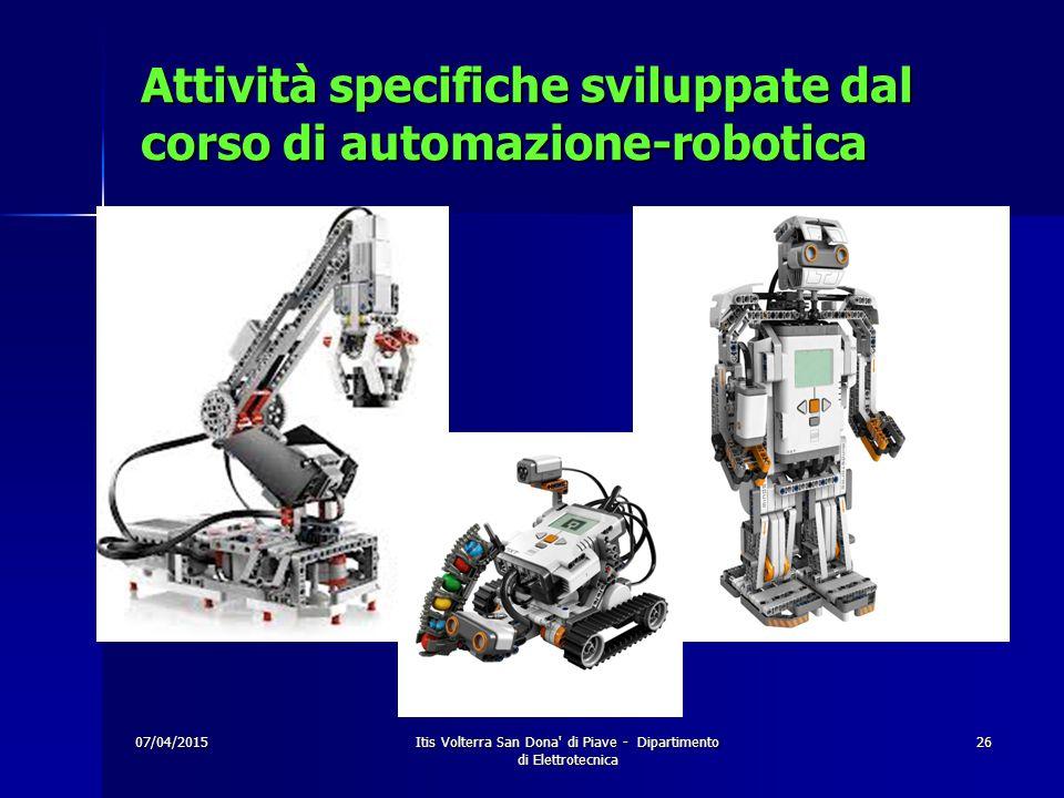 07/04/2015Itis Volterra San Dona di Piave - Dipartimento di Elettrotecnica 26 Attività specifiche sviluppate dal corso di automazione-robotica