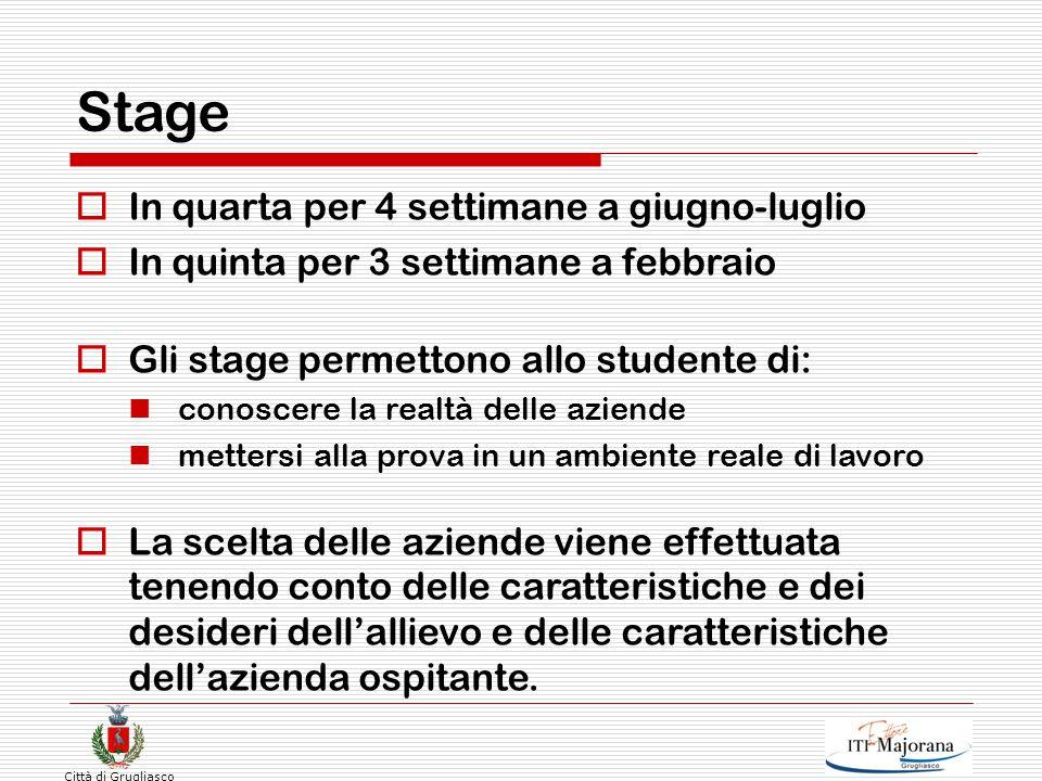 Città di Grugliasco Stage  In quarta per 4 settimane a giugno-luglio  In quinta per 3 settimane a febbraio  Gli stage permettono allo studente di: