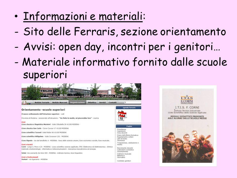 Informazioni e materiali: -Sito delle Ferraris, sezione orientamento -Avvisi: open day, incontri per i genitori… - Materiale informativo fornito dalle scuole superiori