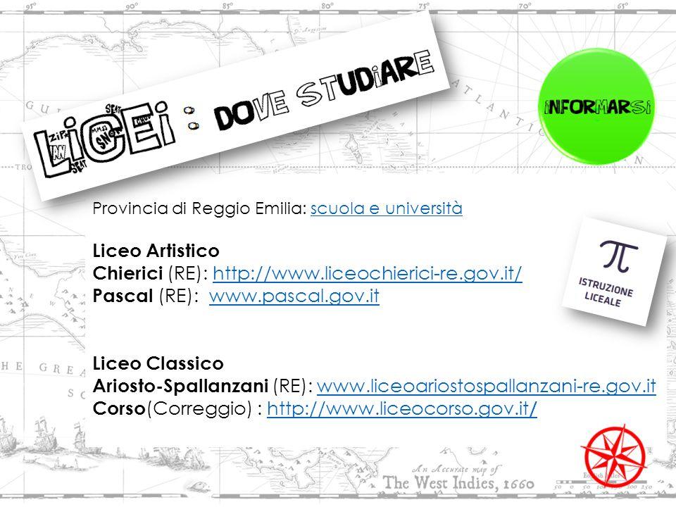Provincia di Reggio Emilia: scuola e universitàscuola e università Liceo Artistico Chierici (RE): http://www.liceochierici-re.gov.it/http://www.liceochierici-re.gov.it/ Pascal (RE): www.pascal.gov.itwww.pascal.gov.it Liceo Classico Ariosto-Spallanzani (RE): www.liceoariostospallanzani-re.gov.itwww.liceoariostospallanzani-re.gov.it Corso (Correggio) : http://www.liceocorso.gov.it /http://www.liceocorso.gov.it /
