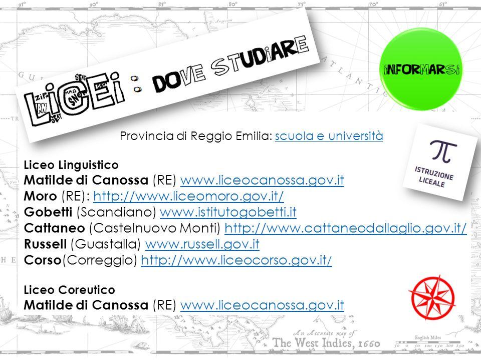 Provincia di Reggio Emilia: scuola e universitàscuola e università Liceo Linguistico Matilde di Canossa (RE) www.liceocanossa.gov.itwww.liceocanossa.gov.it Moro (RE): http://www.liceomoro.gov.it/http://www.liceomoro.gov.it/ Gobetti (Scandiano) www.istitutogobetti.itwww.istitutogobetti.it Cattaneo (Castelnuovo Monti) http://www.cattaneodallaglio.gov.it/http://www.cattaneodallaglio.gov.it/ Russell (Guastalla) www.russell.gov.itwww.russell.gov.it Corso (Correggio) http://www.liceocorso.gov.it /http://www.liceocorso.gov.it / Liceo Coreutico Matilde di Canossa (RE) www.liceocanossa.gov.itwww.liceocanossa.gov.it
