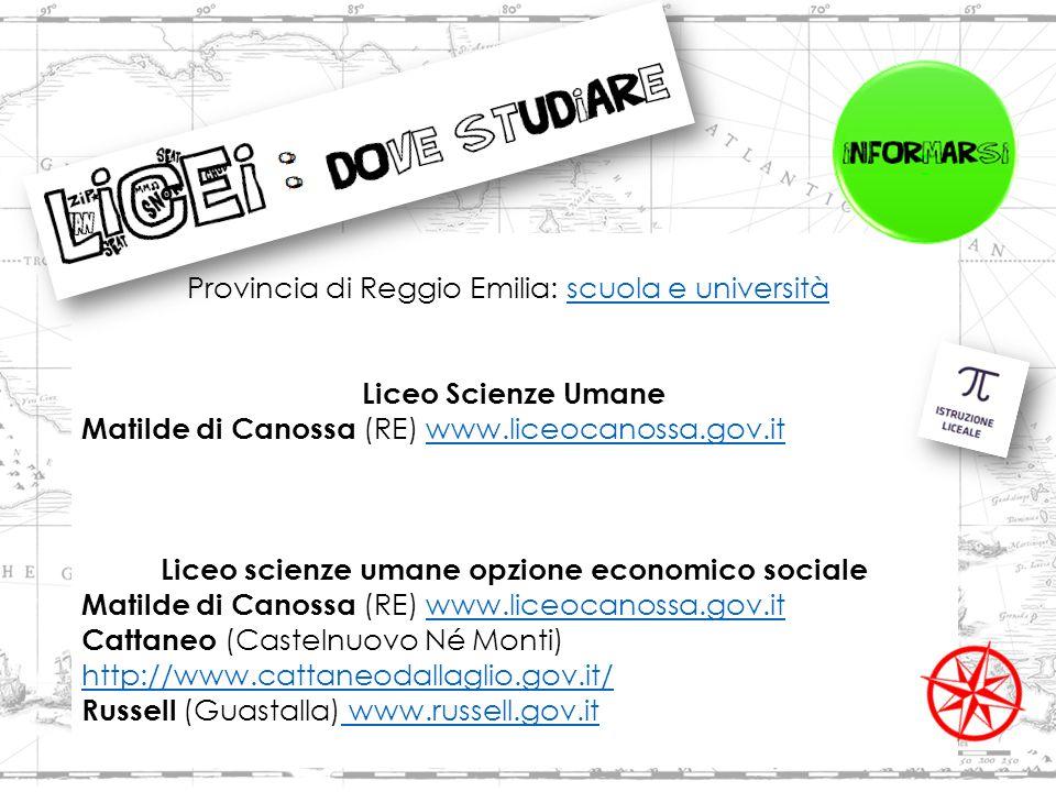 Provincia di Reggio Emilia: scuola e universitàscuola e università Liceo Scienze Umane Matilde di Canossa (RE) www.liceocanossa.gov.itwww.liceocanossa.gov.it Liceo scienze umane opzione economico sociale Matilde di Canossa (RE) www.liceocanossa.gov.itwww.liceocanossa.gov.it Cattaneo (Castelnuovo Né Monti) http://www.cattaneodallaglio.gov.it/ http://www.cattaneodallaglio.gov.it/ Russell (Guastalla) www.russell.gov.it www.russell.gov.it