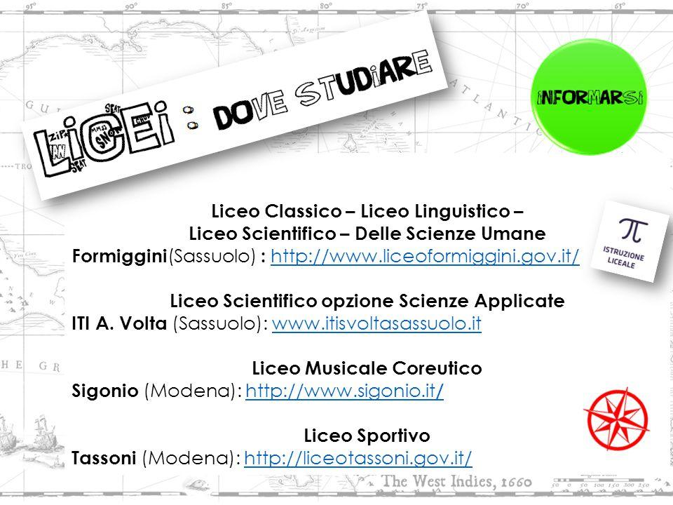 Provincia di Modena : http://www.istruzione.provincia.modena.it http://www.istruzione.provincia.modena.it Liceo Classico – Liceo Linguistico – Liceo Scientifico – Delle Scienze Umane Formiggini (Sassuolo) : http://www.liceoformiggini.gov.it/ http://www.liceoformiggini.gov.it/ Liceo Scientifico opzione Scienze Applicate ITI A.