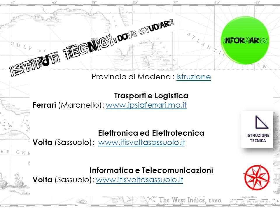 Provincia di Modena : istruzioneistruzione Trasporti e Logistica Ferrari (Maranello): www.ipsiaferrari.mo.itwww.ipsiaferrari.mo.it Elettronica ed Elettrotecnica Volta (Sassuolo): www.itisvoltasassuolo.it www.itisvoltasassuolo.it Informatica e Telecomunicazioni Volta (Sassuolo): www.itisvoltasassuolo.it www.itisvoltasassuolo.it