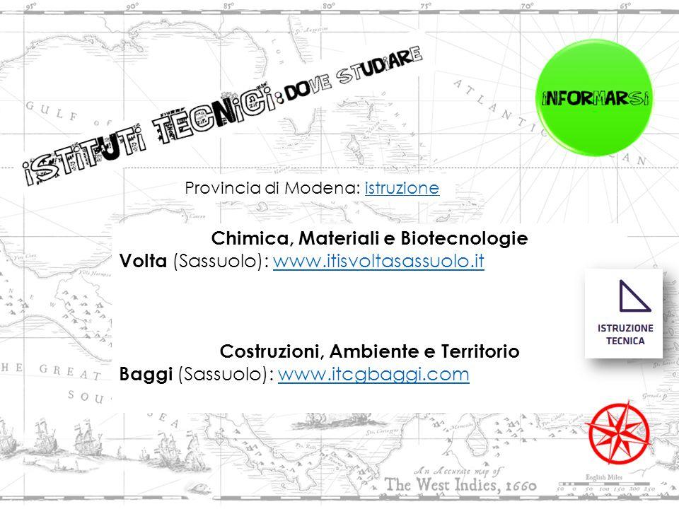 Chimica, Materiali e Biotecnologie Volta (Sassuolo): www.itisvoltasassuolo.it www.itisvoltasassuolo.it Costruzioni, Ambiente e Territorio Baggi (Sassuolo): www.itcgbaggi.comwww.itcgbaggi.com Provincia di Modena: istruzioneistruzione
