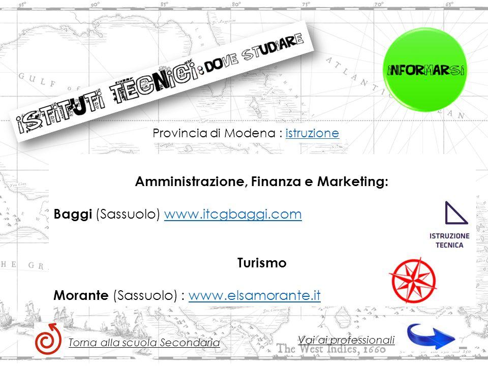 Amministrazione, Finanza e Marketing: Baggi (Sassuolo) www.itcgbaggi.comwww.itcgbaggi.com Turismo Morante (Sassuolo) : www.elsamorante.itwww.elsamorante.it Torna alla scuola Secondaria Vai ai professionali Provincia di Modena : istruzioneistruzione