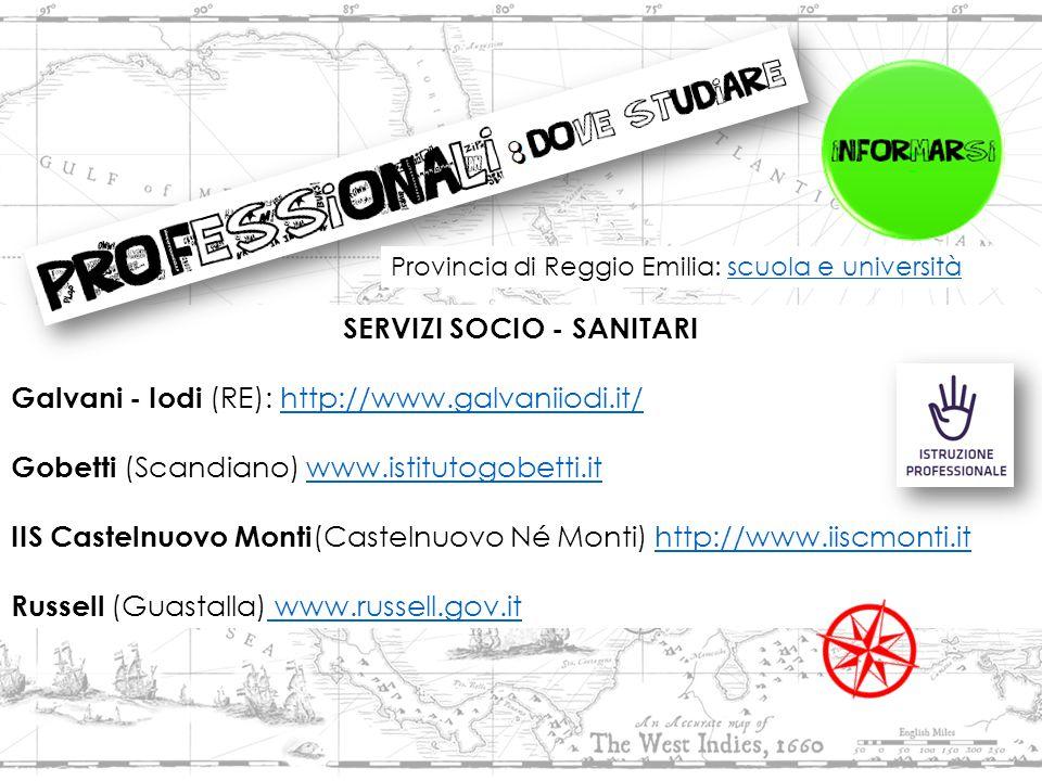 SERVIZI SOCIO - SANITARI Galvani - Iodi (RE): http://www.galvaniiodi.it/http://www.galvaniiodi.it/ Gobetti (Scandiano) www.istitutogobetti.itwww.istitutogobetti.it IIS Castelnuovo Monti (Castelnuovo Né Monti) http://www.iiscmonti.ithttp://www.iiscmonti.it Russell (Guastalla) www.russell.gov.it www.russell.gov.it Provincia di Reggio Emilia: scuola e universitàscuola e università