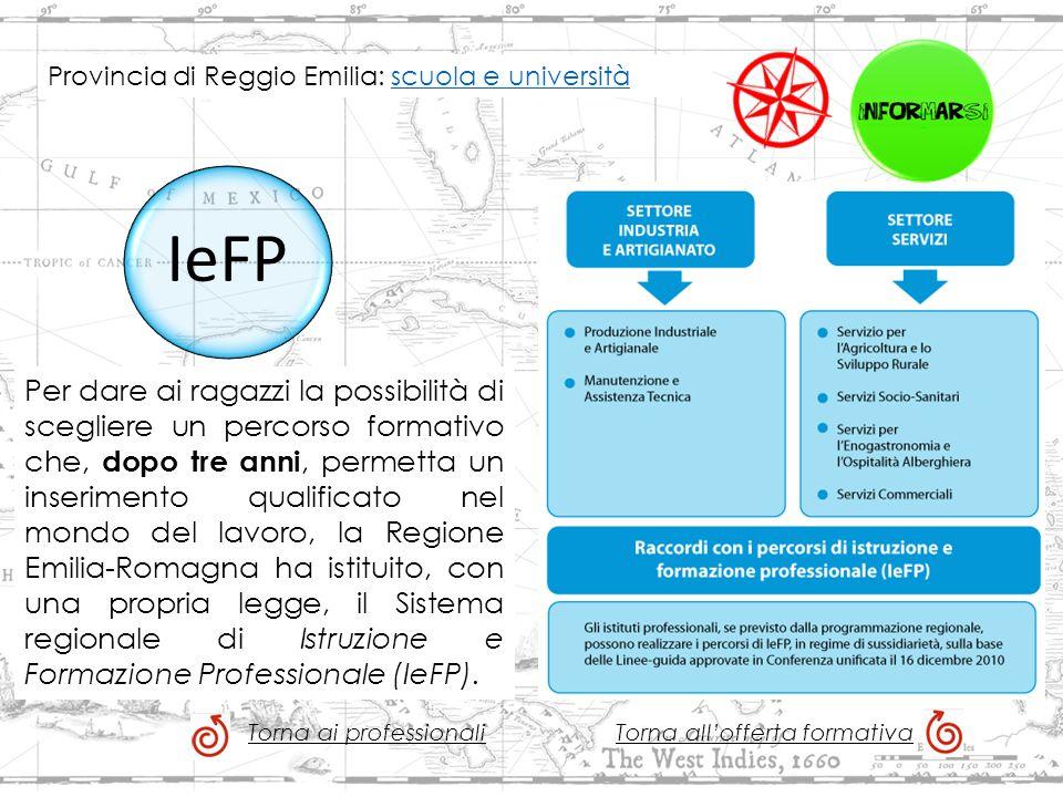 IeFP Per dare ai ragazzi la possibilità di scegliere un percorso formativo che, dopo tre anni, permetta un inserimento qualificato nel mondo del lavoro, la Regione Emilia-Romagna ha istituito, con una propria legge, il Sistema regionale di Istruzione e Formazione Professionale (IeFP).