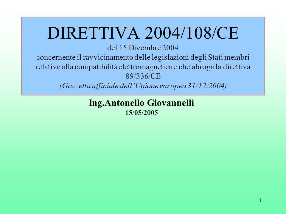 1 DIRETTIVA 2004/108/CE del 15 Dicembre 2004 concernente il ravvicinamento delle legislazioni degli Stati membri relative alla compatibilità elettromagnetica e che abroga la direttiva 89/336/CE (Gazzetta ufficiale dell'Unione europea 31/12/2004) Ing.Antonello Giovannelli 15/05/2005