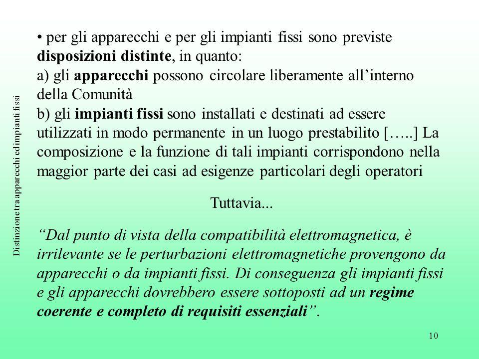 10 per gli apparecchi e per gli impianti fissi sono previste disposizioni distinte, in quanto: a) gli apparecchi possono circolare liberamente all'int