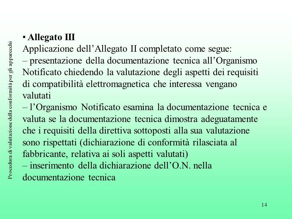 14 Allegato III Applicazione dell'Allegato II completato come segue: – presentazione della documentazione tecnica all'Organismo Notificato chiedendo l