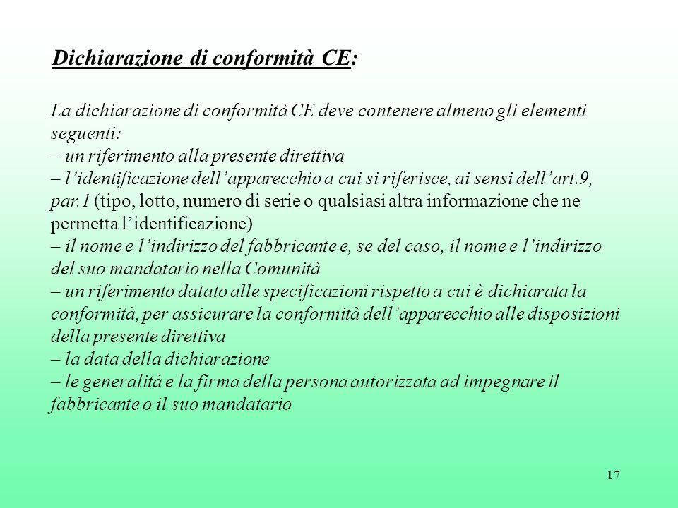 17 Dichiarazione di conformità CE: La dichiarazione di conformità CE deve contenere almeno gli elementi seguenti: – un riferimento alla presente diret