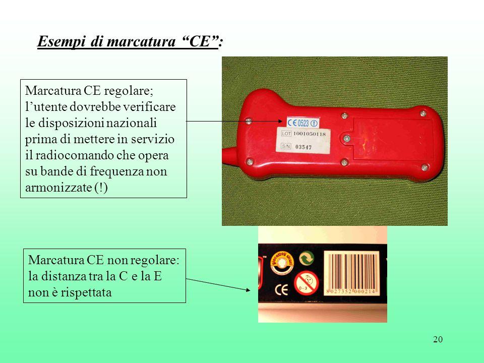20 Marcatura CE regolare; l'utente dovrebbe verificare le disposizioni nazionali prima di mettere in servizio il radiocomando che opera su bande di frequenza non armonizzate (!) Marcatura CE non regolare: la distanza tra la C e la E non è rispettata Esempi di marcatura CE :