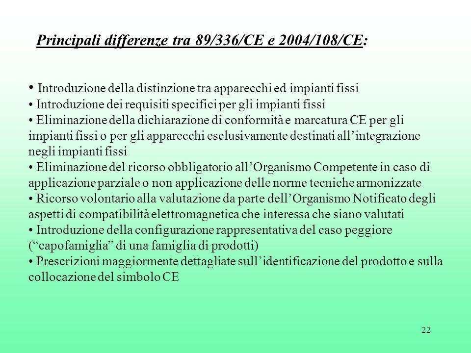 22 Principali differenze tra 89/336/CE e 2004/108/CE: Introduzione della distinzione tra apparecchi ed impianti fissi Introduzione dei requisiti speci