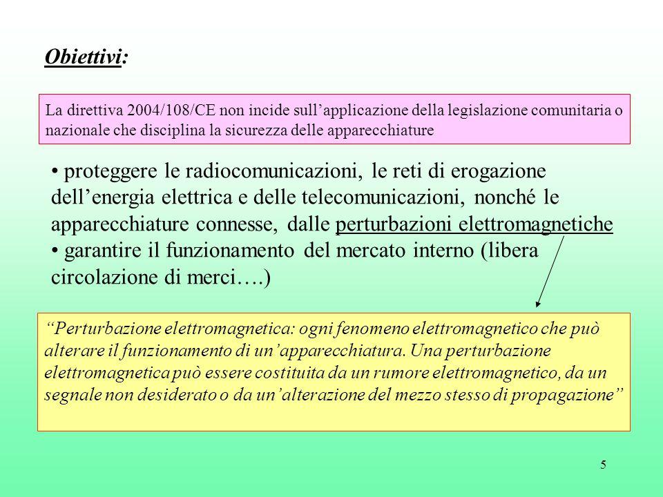 6 conformità obbligatoria ai requisiti essenziali: Le apparecchiature sono progettate e fabbricate secondo le tecniche più recenti, in modo tale che: a) le perturbazioni elettromagnetiche prodotte non raggiungano un'intensità tale da impedire il normale funzionamento delle apparecchiature radio e di telecomunicazione b) presentino un livello di immunità alle perturbazioni elettromagnetiche prevedibili nelle condizioni d'uso cui sono destinate tale da preservare il normale funzionamento da un deterioramento inaccettabile Raggiungimento degli obiettivi: