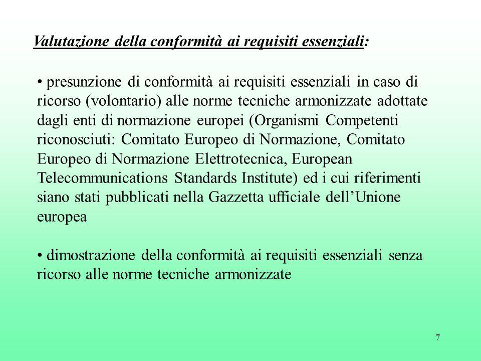 7 presunzione di conformità ai requisiti essenziali in caso di ricorso (volontario) alle norme tecniche armonizzate adottate dagli enti di normazione