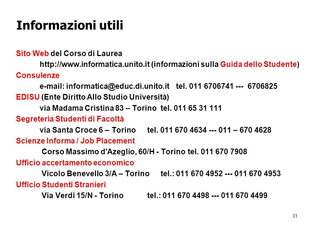 31 Informazioni utili Sito Web del Corso di Laurea http://www.informatica.unito.it (informazioni sulla Guida dello Studente) Consulenze e-mail: informatica@educ.di.unito.it tel.