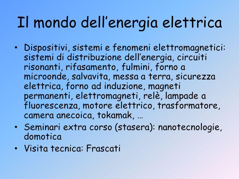 Il mondo dell'energia elettrica Dispositivi, sistemi e fenomeni elettromagnetici: sistemi di distribuzione dell'energia, circuiti risonanti, rifasamen