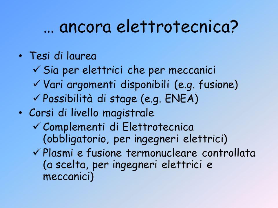 … ancora elettrotecnica? Tesi di laurea Sia per elettrici che per meccanici Vari argomenti disponibili (e.g. fusione) Possibilità di stage (e.g. ENEA)