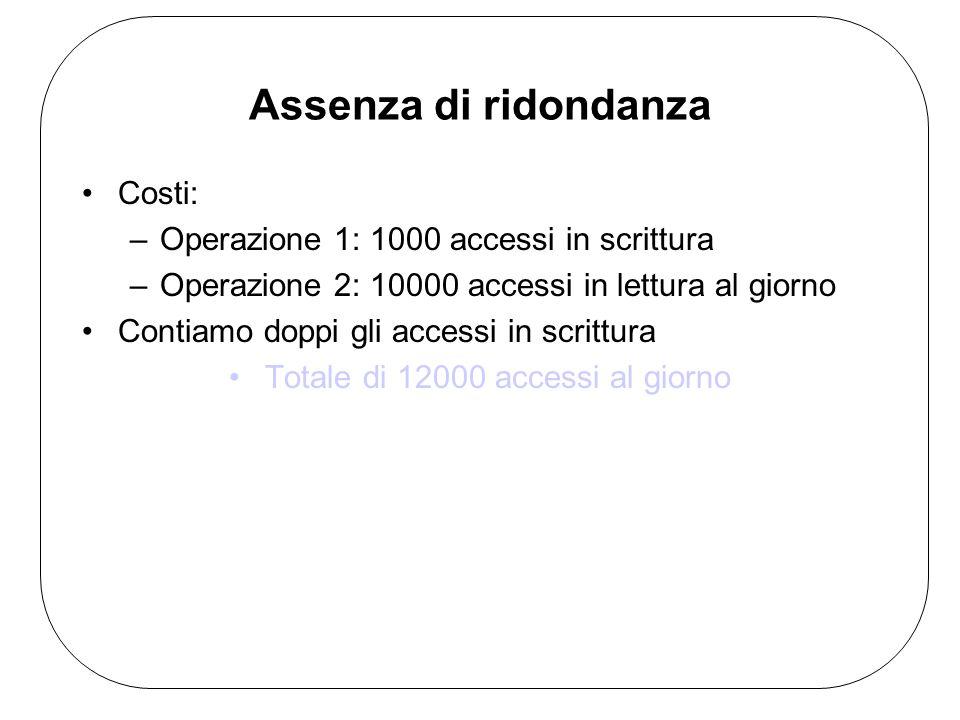 Assenza di ridondanza Costi: –Operazione 1: 1000 accessi in scrittura –Operazione 2: 10000 accessi in lettura al giorno Contiamo doppi gli accessi in scrittura Totale di 12000 accessi al giorno