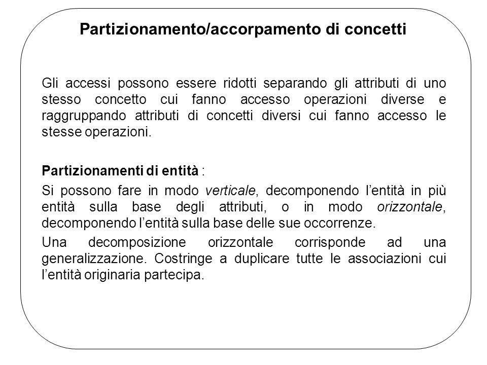 Partizionamento/accorpamento di concetti Gli accessi possono essere ridotti separando gli attributi di uno stesso concetto cui fanno accesso operazioni diverse e raggruppando attributi di concetti diversi cui fanno accesso le stesse operazioni.