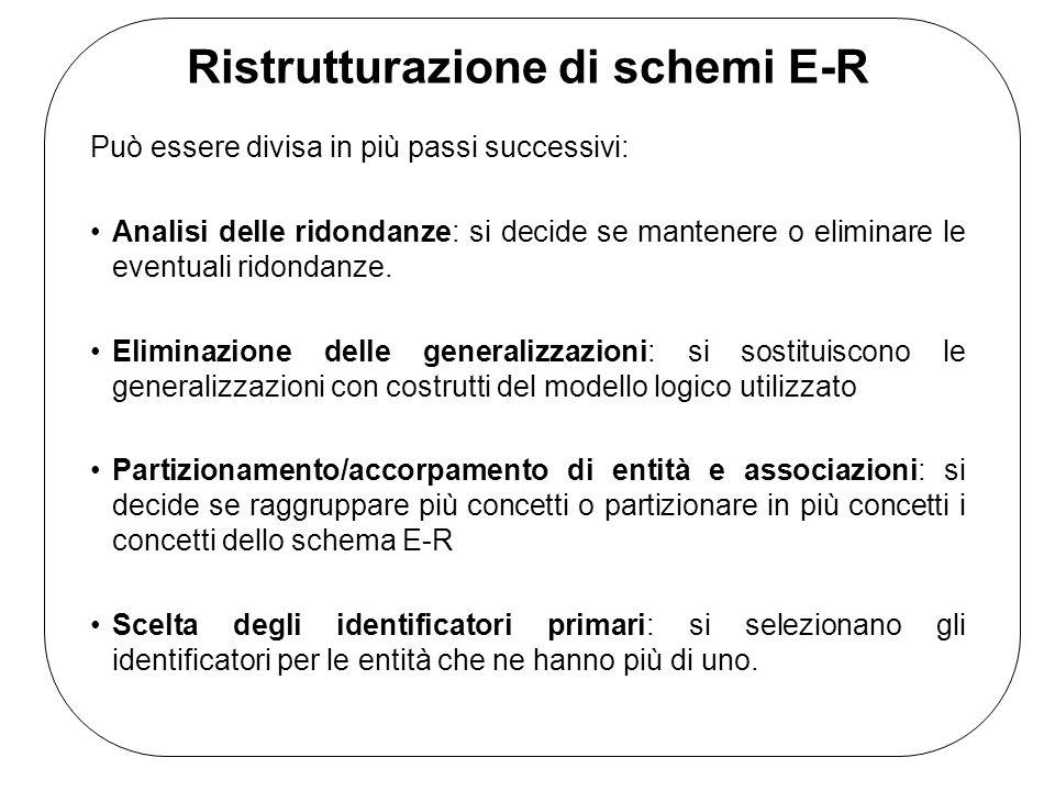 Ristrutturazione di schemi E-R Può essere divisa in più passi successivi: Analisi delle ridondanze: si decide se mantenere o eliminare le eventuali ridondanze.
