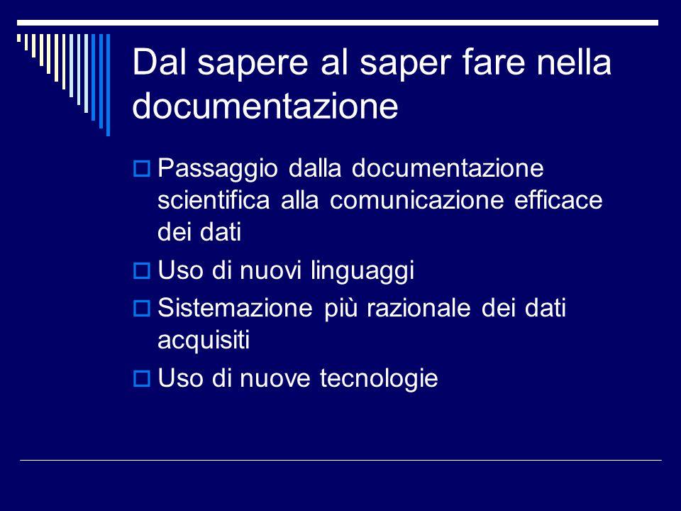 Dal sapere al saper fare nella documentazione  Passaggio dalla documentazione scientifica alla comunicazione efficace dei dati  Uso di nuovi linguag