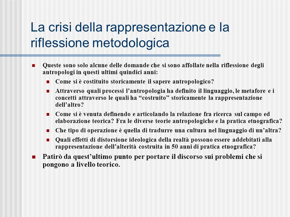 La crisi della rappresentazione e la riflessione metodologica Queste sono solo alcune delle domande che si sono affollate nella riflessione degli antr