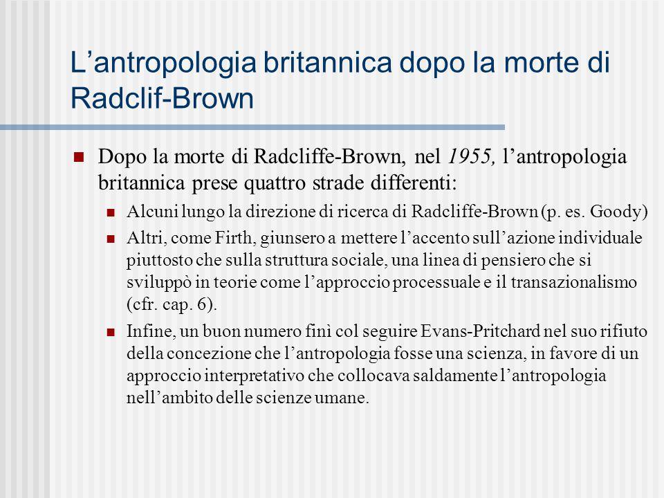 L'antropologia britannica dopo la morte di Radclif-Brown Dopo la morte di Radcliffe-Brown, nel 1955, l'antropologia britannica prese quattro strade di