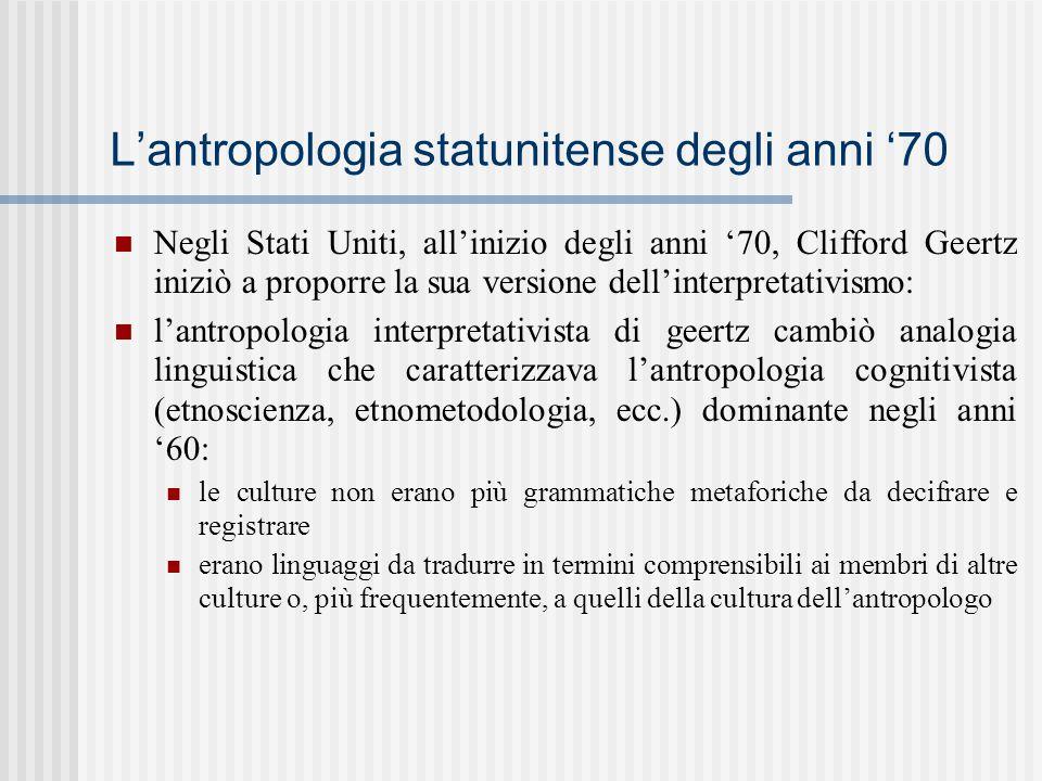 L'antropologia statunitense degli anni '70 Negli Stati Uniti, all'inizio degli anni '70, Clifford Geertz iniziò a proporre la sua versione dell'interp
