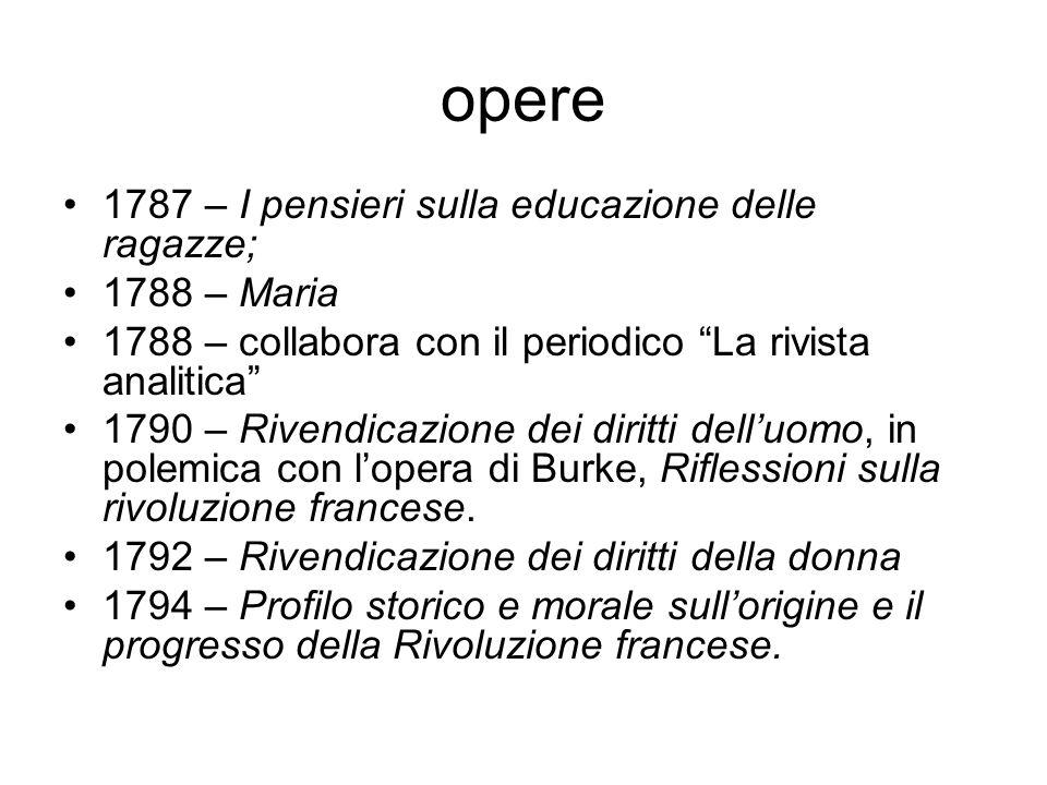 """opere 1787 – I pensieri sulla educazione delle ragazze; 1788 – Maria 1788 – collabora con il periodico """"La rivista analitica"""" 1790 – Rivendicazione de"""