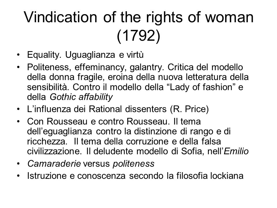 Vindication of the rights of woman (1792) Equality.