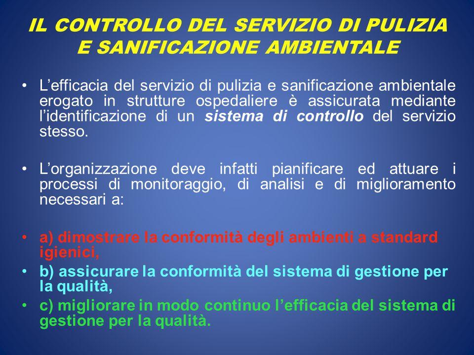 IL CONTROLLO DEL SERVIZIO DI PULIZIA E SANIFICAZIONE AMBIENTALE L'efficacia del servizio di pulizia e sanificazione ambientale erogato in strutture ospedaliere è assicurata mediante l'identificazione di un sistema di controllo del servizio stesso.