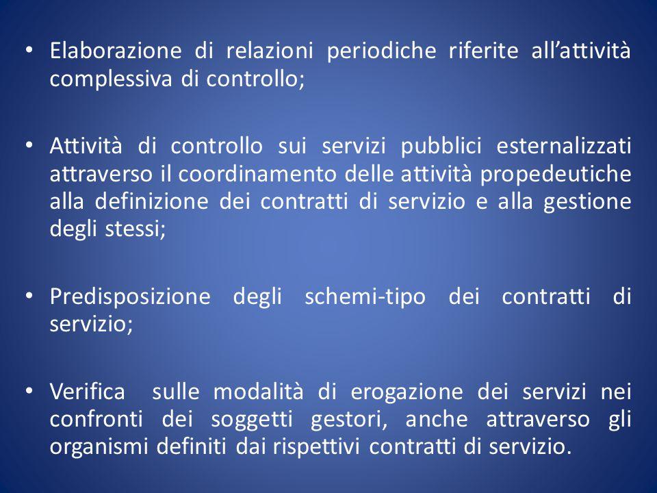 Elaborazione di relazioni periodiche riferite all'attività complessiva di controllo; Attività di controllo sui servizi pubblici esternalizzati attrave
