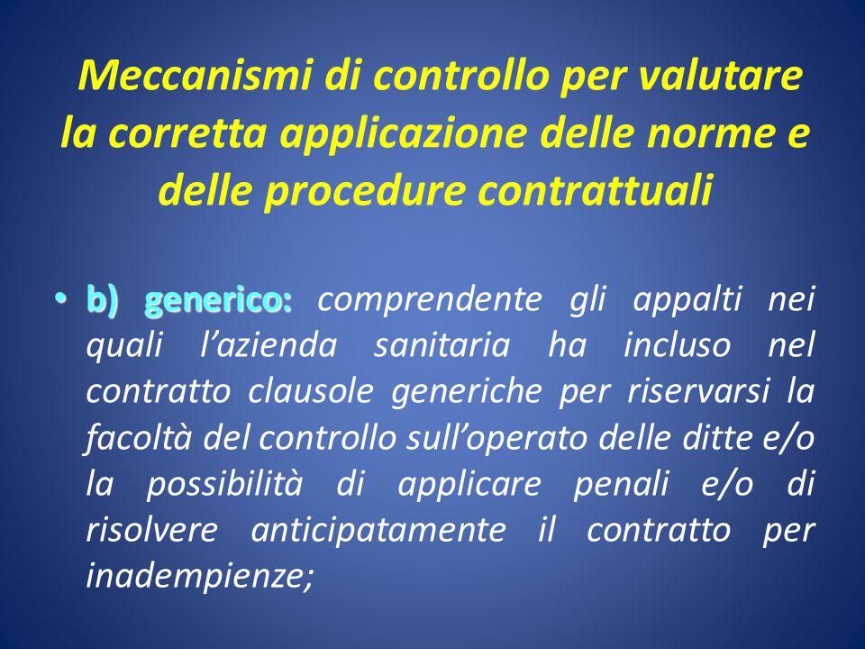 Meccanismi di controllo per valutare la corretta applicazione delle norme e delle procedure contrattuali b) generico: b) generico: comprendente gli ap